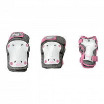 Roces Jr Ventilated 3er Pack Protektoren Girls - Weiß / Pink